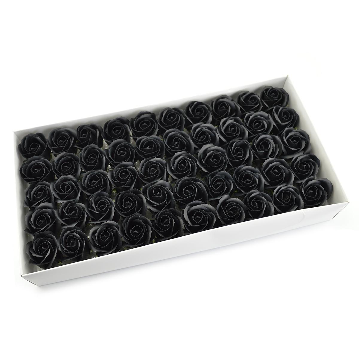 Juego de 50 rosas de jabón aromáticas, toque real, negro