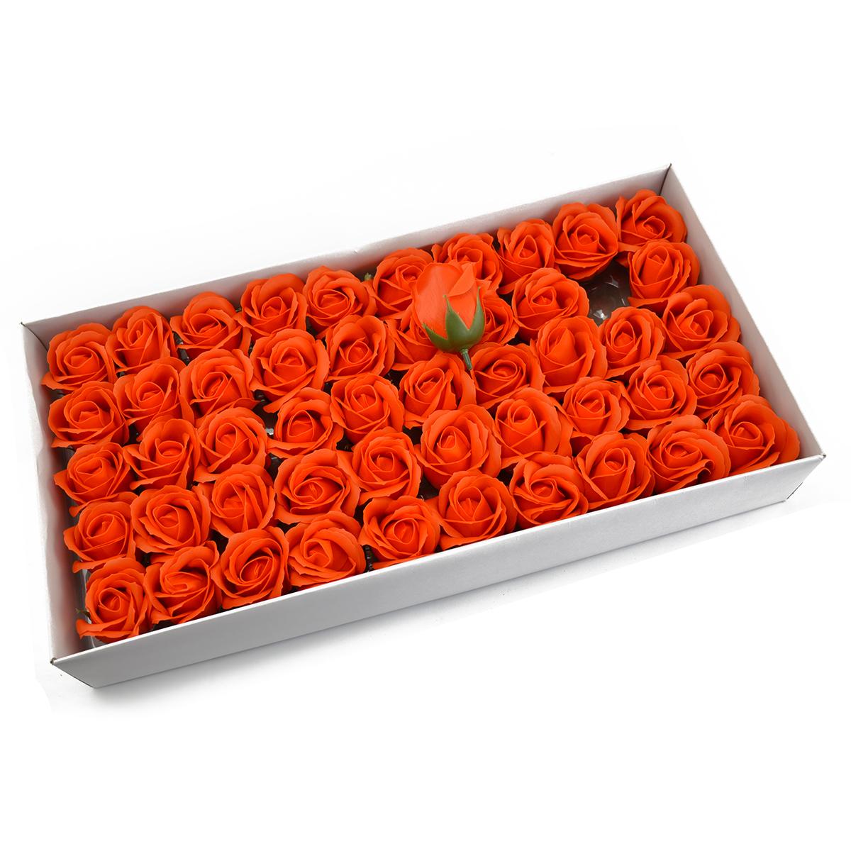 Juego de 50 rosas de jabón aromáticas, toque real, naranja