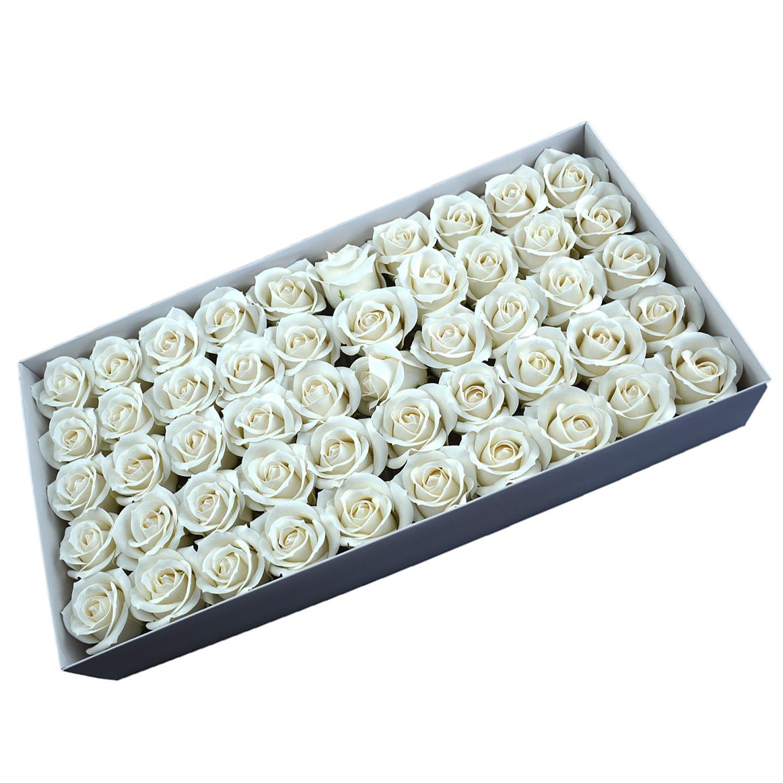 Juego de 50 rosas de jabón aromáticas, toque real, blanco