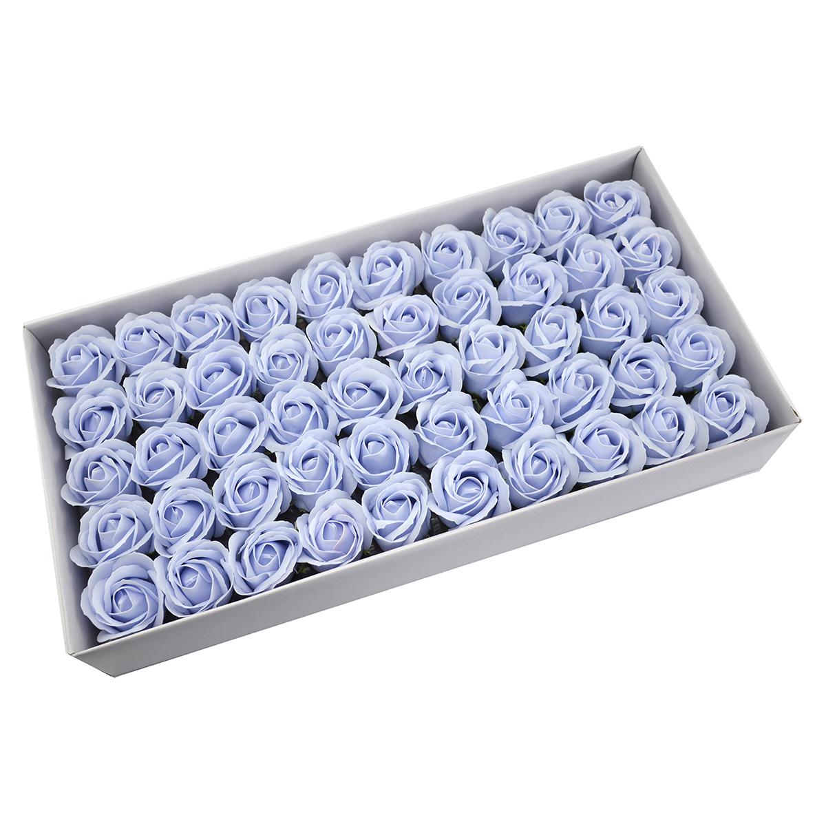 Juego de 50 rosas de jabón aromáticas, toque real, azul claro