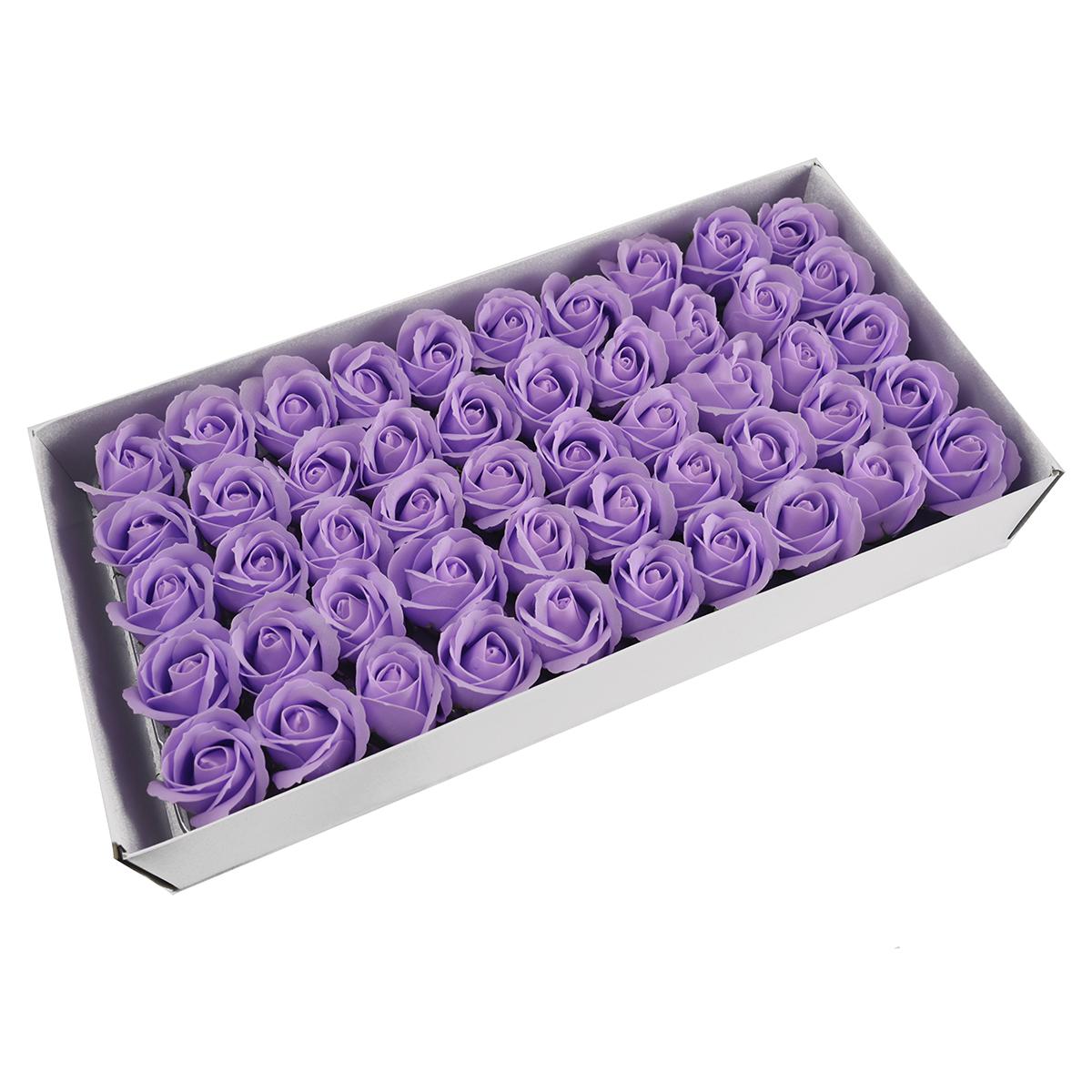 Juego de 50 rosas de jabón aromáticas, toque real, lila claro