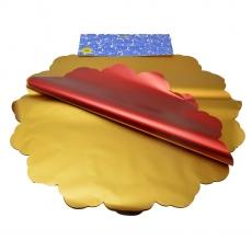 Celofán metálico redondo 50CM dorado y rojo