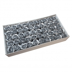 Juego de 50 rosas de jabón aromáticas, toque real, plateado
