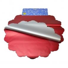 Celofán metálico redondo 50CM plateado y rojo