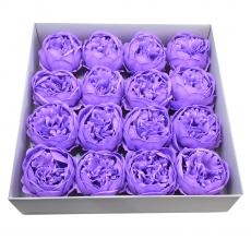 Juego de 16 peonías grandes de jabón perfumadas con un toque lila real
