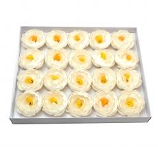 Set de 20 piezas de ranúnculo de jabón perfumado con toque blanco real
