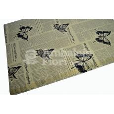 Papel Kraft Periódico Mariposas Negro