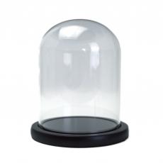 Bol de vidrio tipo cúpula soporte madera 15x12