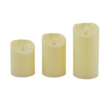 Set de 3 velas led crema 10/12 / 14x7.5cm
