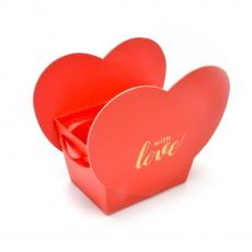 Mini caja With Love, con asa de raso rojo