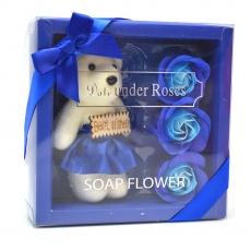 Mis mejores deseos paquete de oso de peluche con rosas de jabón azul