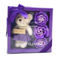 Mis mejores deseos paquete de oso de peluche con rosas de jabón púrpura