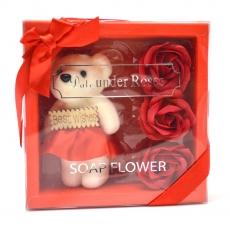 Mis mejores deseos paquete de oso de peluche con rosas rojas de jabón