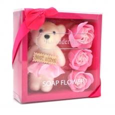 Mis mejores deseos paquete de oso de peluche con rosas de jabón rosa
