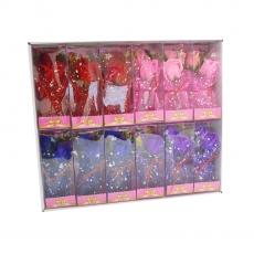 Set de 12 arreglos de rosas de jabón rosa con led
