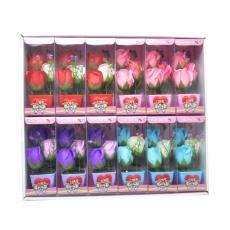 Conjunto de 12 adornos con rosas de jabón de colores mezclados