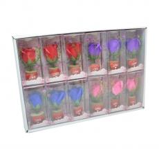 Conjunto de 12 adornos con rosas de jabón y led de colores mezclados modelo 1