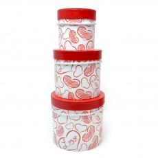 Conjunto de 3 cajas de dibujo de corazón rojo blanco