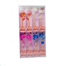 Set de 8 rosas arcoíris de colores mezclados